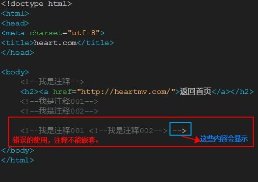 HTML错误的嵌套注释