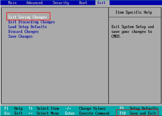BIOS exit退出选项